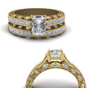 Cathedral Channel Diamond Wedding Set