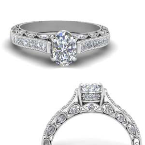 Moissanite Oval Shaped Milgrain Rings
