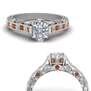 Orange Sapphire Channel Set Ring