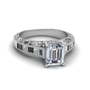 14K White Gold Emerald Cut Ring