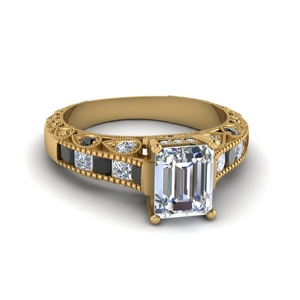 18K Yellow Gold Antique Look Ring