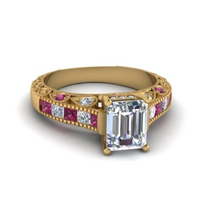 emerald cut antique channel set diamond shank engagement ring with pink sapphire in 14K yellow gold FDENR6839EMRGSADRPI NL YG