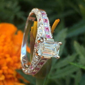 emerald cut antique channel set diamond shank engagement ring with pink sapphire in FDENR6839EMRGSADRPIANGLE1 NL WG