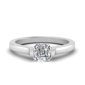 Asscher Cut Half Bezel Ring