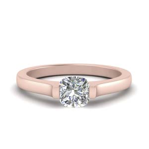 Half Bezel Cushion Diamond Ring