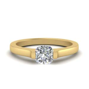 Cushion Gold Solitaire Ring