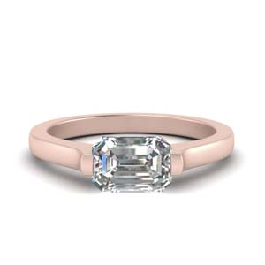 18K Rose Gold Half Bezel Ring