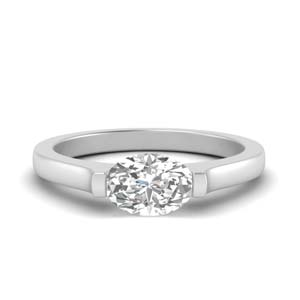 Oval Half Bezel Ring