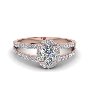 french pave halo oval shaped diamond split ring in 14K rose gold FDENR7275OVR NL RG