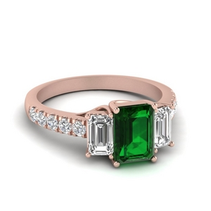 Vintage Three Stone Emerald Ring