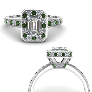 Emerald Cut Halo Ring