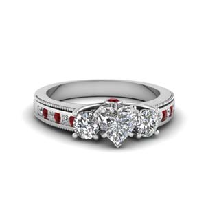 Moissanite Side Stone Engagement Ring