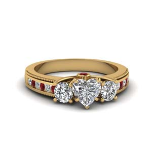 3 Stone Milgrain Diamond Ring