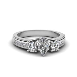 3 stone floating milgrain pear diamond wedding ring in FDENR7325PER NL WG
