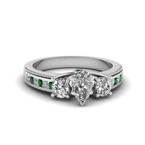 3 stone floating milgrain pear diamond wedding ring with emerald in FDENR7325PERGEMGR NL WG