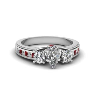 3 stone floating milgrain pear diamond wedding ring with ruby in FDENR7325PERGRUDR NL WG
