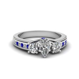 3 stone floating milgrain pear diamond wedding ring with sapphire in FDENR7325PERGSABL NL WG