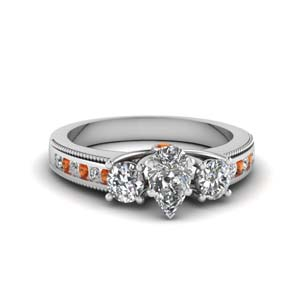 3 stone floating milgrain pear diamond wedding ring with orange sapphire in FDENR7325PERGSAOR NL WG