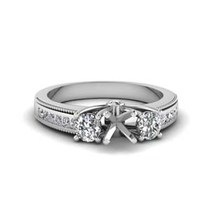 Semi Mount Milgrain Diamond Ring