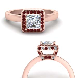 Flat Square Under Halo Diamond Ring