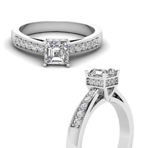 Tapered Pave Crown Diamond Ring