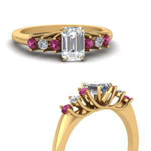 Emerald Cut Gold Circular Ring