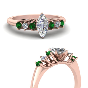 Marquise Trellis Ring With Emerald