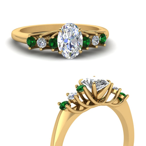 Gold Oval Green Emerald Ring