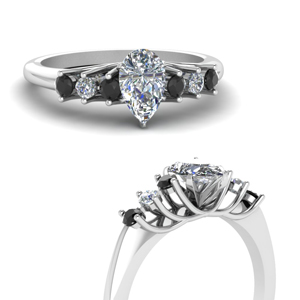 Platinum Pear Black Diamond Ring