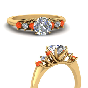 Circular Trellis Orange Topaz Ring