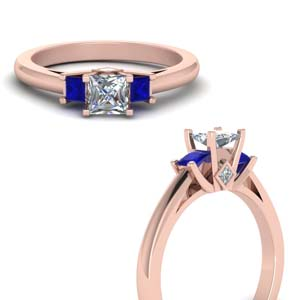 Rose Gold Sapphire Side Stone Rings