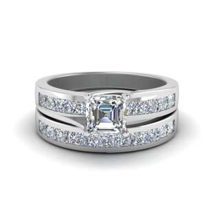 18k White Gold Asscher Cut Ring Sets