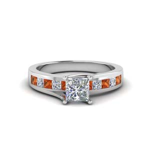 Princess Cut Moissanite Ring With Orange Sapphire