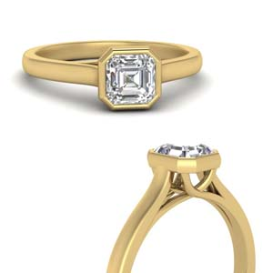 Solitaire Asscher Cut Diamond Ring