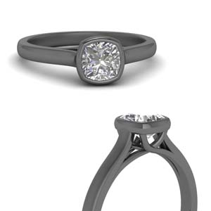 Cushion Cut Solitaire Black Gold Ring