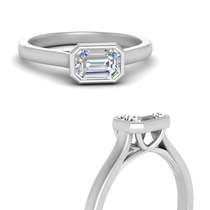 bezel set trellis emerald cut solitaire diamond ring in FDENR7815EMRANGLE3 NL WG