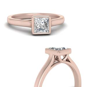 Bezel Set Princess Diamond Ring