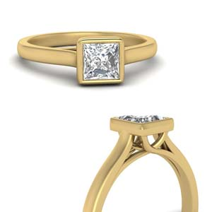 Princess Cut Bezel Set Diamond Ring