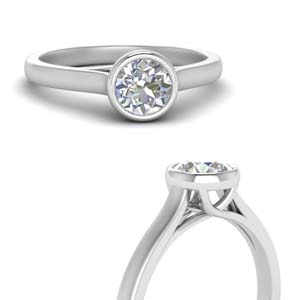 Bezel Set Trellis Solitaire Ring