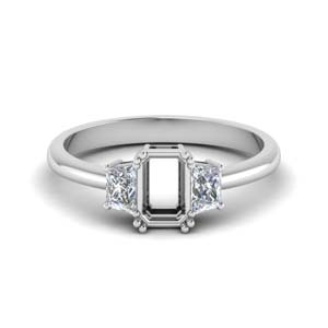 Semi Mount Platinum Trapezoid Ring