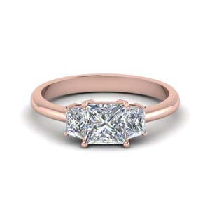 18K Rose Gold Princess Diamond Ring