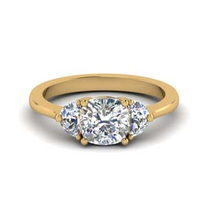 cushion cut half moon 3 stone engagement ring in FDENR7997CUR NL YG