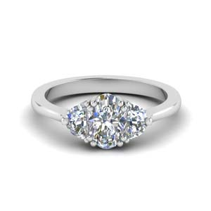 Half Moon Oval Diamond Ring