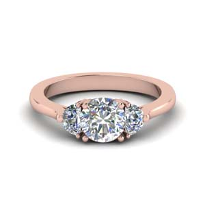 14K Rose Gold 3 Stone Ring