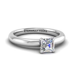 Asscher Diamond Low Dome Ring
