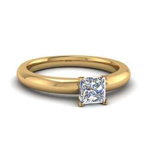1 carat diamond solitaire princess cut engagement ring in FDENR8027PRR NL YG