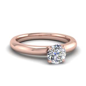 Low Dome Solitaire Diamond Ring