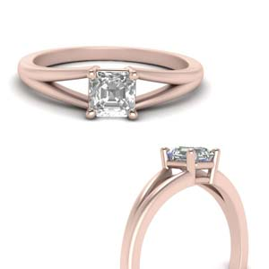 Split Asscher Cut Solitaire Ring