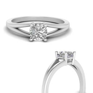 Cushion Cut Solitaire Diamond Ring
