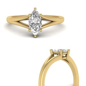 Split Shoulder Marquise Diamond Ring